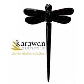 Pic à cheveux en corne noire de buffle - Dragon Fly