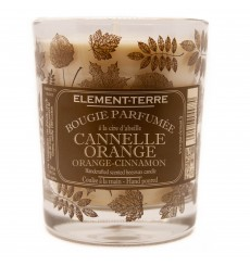 Bougie à la cire d'abeille parfumée Cannelle Orange